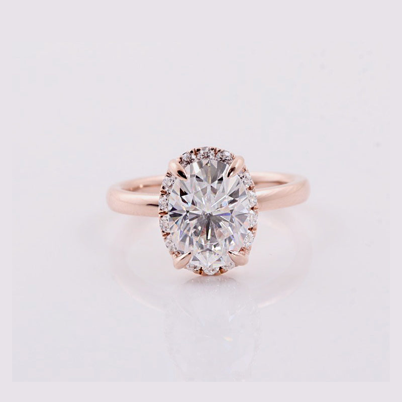 Moissanite 2 CT Oval Solitaire and Hidden Halo Rose Gold Ring