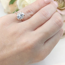 Load image into Gallery viewer, Moissanite 2 CT Oval Solitaire and Hidden Halo Rose Gold Ring