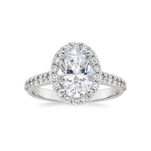 Load image into Gallery viewer, Moissanite Oval Halo With Side Stones White Gold Ring