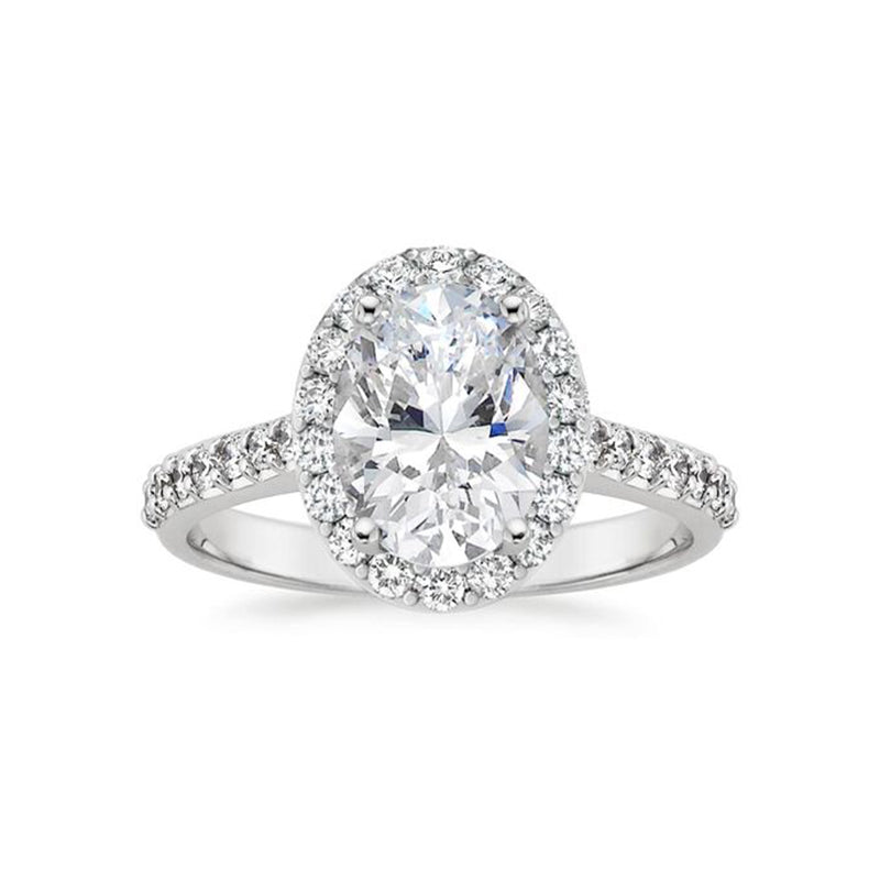 Moissanite Oval Halo With Side Stones White Gold Ring