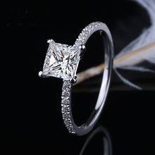 Load image into Gallery viewer, Moissanite Princess Cut With Side Stones White Gold Ring