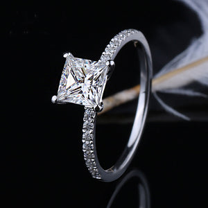 Moissanite Princess Cut With Side Stones White Gold Ring