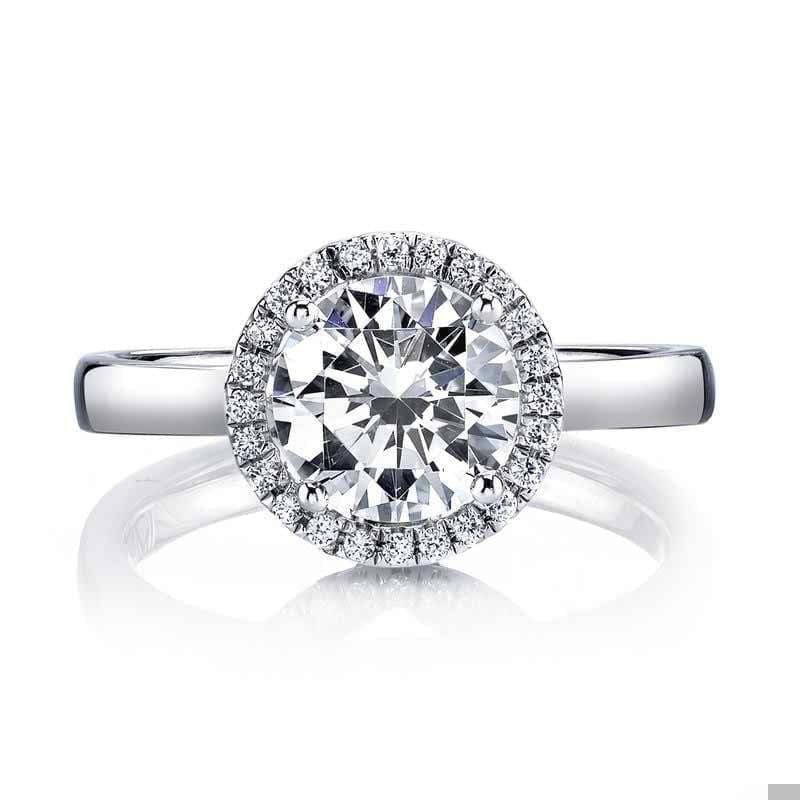 Moissanite Round Halo Solitaire White Gold Ring Rings Forever Chic Jewellery