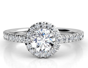 Moissanite Round Halo With Side Stones White Gold Ring