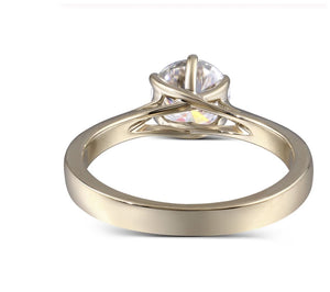 Moissanite Round Solitaire Yellow Gold Ring