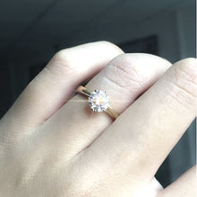 Load image into Gallery viewer, Moissanite Round Solitaire Yellow Gold Ring