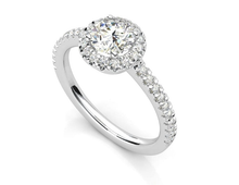 Load image into Gallery viewer, Moissanite Round Halo With Side Stones White Gold Ring
