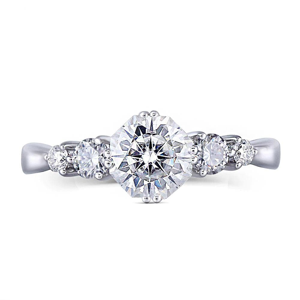Moissanite Multiple Stone White Gold Ring