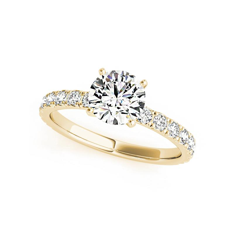 Moissanite Round Solitaire with Side Stones Yellow Gold Ring