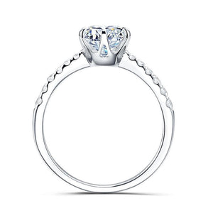 Moissanite Round Solitaire With Side Stones White Gold Ring