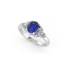 Load image into Gallery viewer, Oval blue sapphire and diamond ring gold