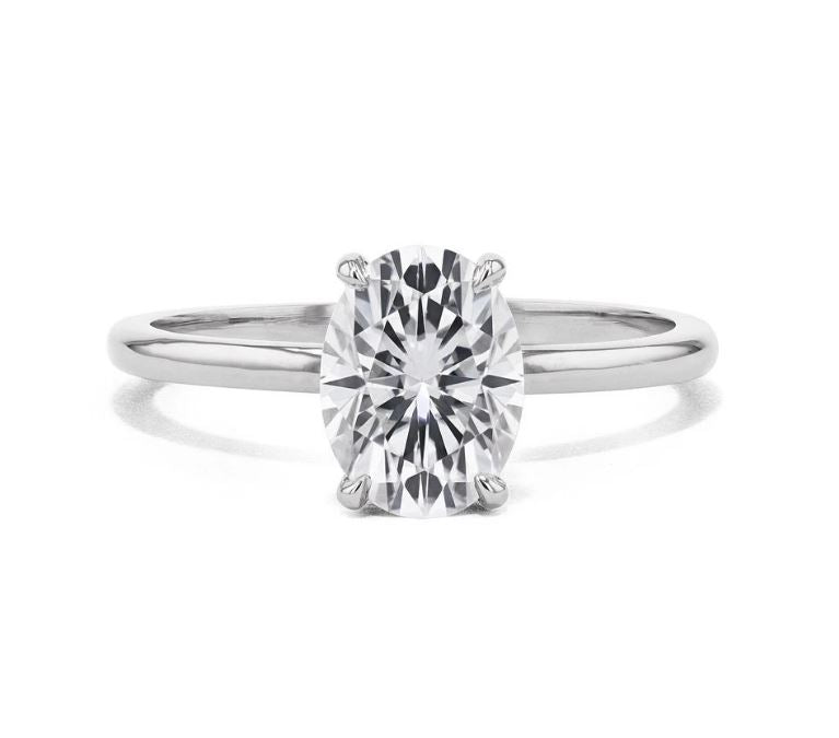 Moissanite 1.25 carat Oval Solitaire White Gold Ring