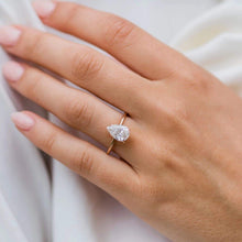 Load image into Gallery viewer, Moissanite Pear Cut Solitaire Rose Gold Ring Rings Forever Chic Jewellery