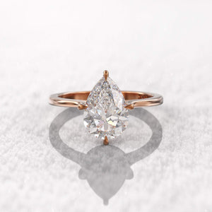 Moissanite Pear Cut Solitaire Rose Gold Ring