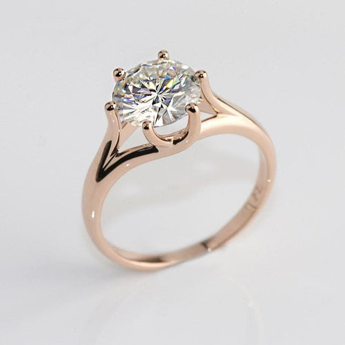 Moissanite 1.5 carat Round Solitaire Rose Gold Ring Rings Forever Chic Jewellery