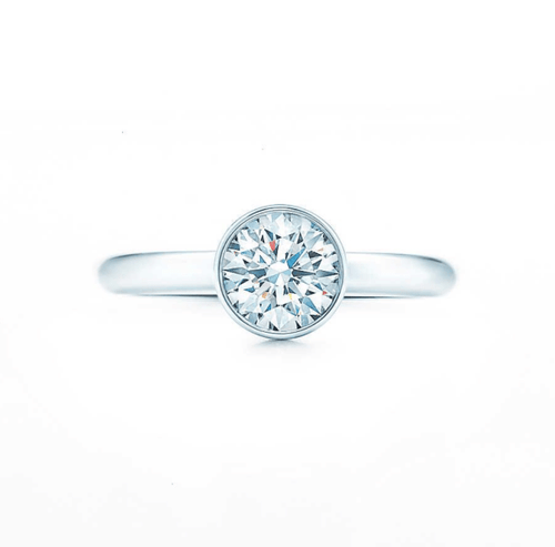 Diamond Round Bezel Set Solitaire Platinum Ring