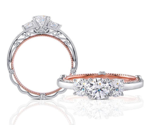 Diamond Antique 3-Stone Intricate White and Rose Gold Ring