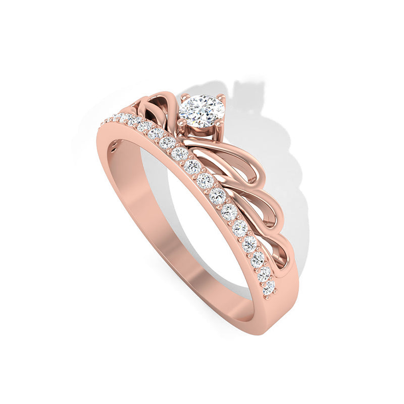 diamond art deco rose gold ring