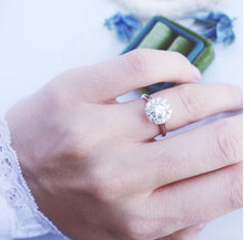 Load image into Gallery viewer, Moissanite Round Halo Solitaire White Gold Ring Rings Forever Chic Jewellery