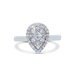 Diamond Pear Halo Solitaire White Gold Ring