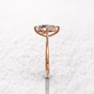 Moissanite Pear Cut Solitaire Rose Gold Ring Rings Forever Chic Jewellery
