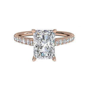 Moissantie Radiant Cut and Side Stones Rose Gold Ring