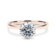 Load image into Gallery viewer, Round diamond solitaire rose gold ring