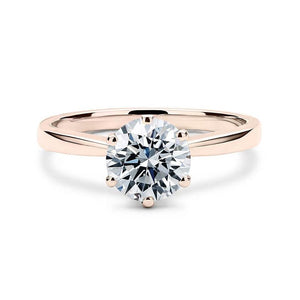 Round diamond solitaire rose gold ring