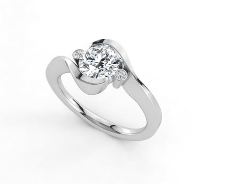 Moissanite Swirl 3-Stone Round Moissanite White Gold Ring
