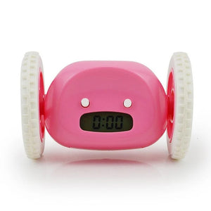 Runaway Alarm Clock with 2 Running Wheels LCD Screen Display for Christmas Gift