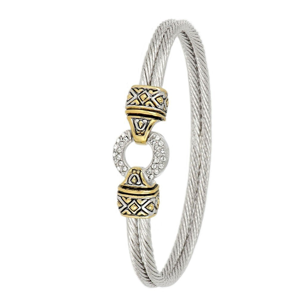 Antiqua Pave Circle Double Wire Bracelet - Jenna Jane's Jewelry