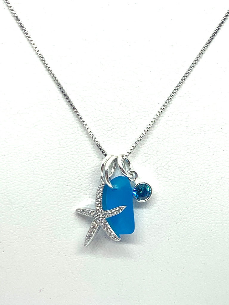 Pave Starfish Sea Glass Charm Necklace Turquoise - Jenna Jane's Jewelry