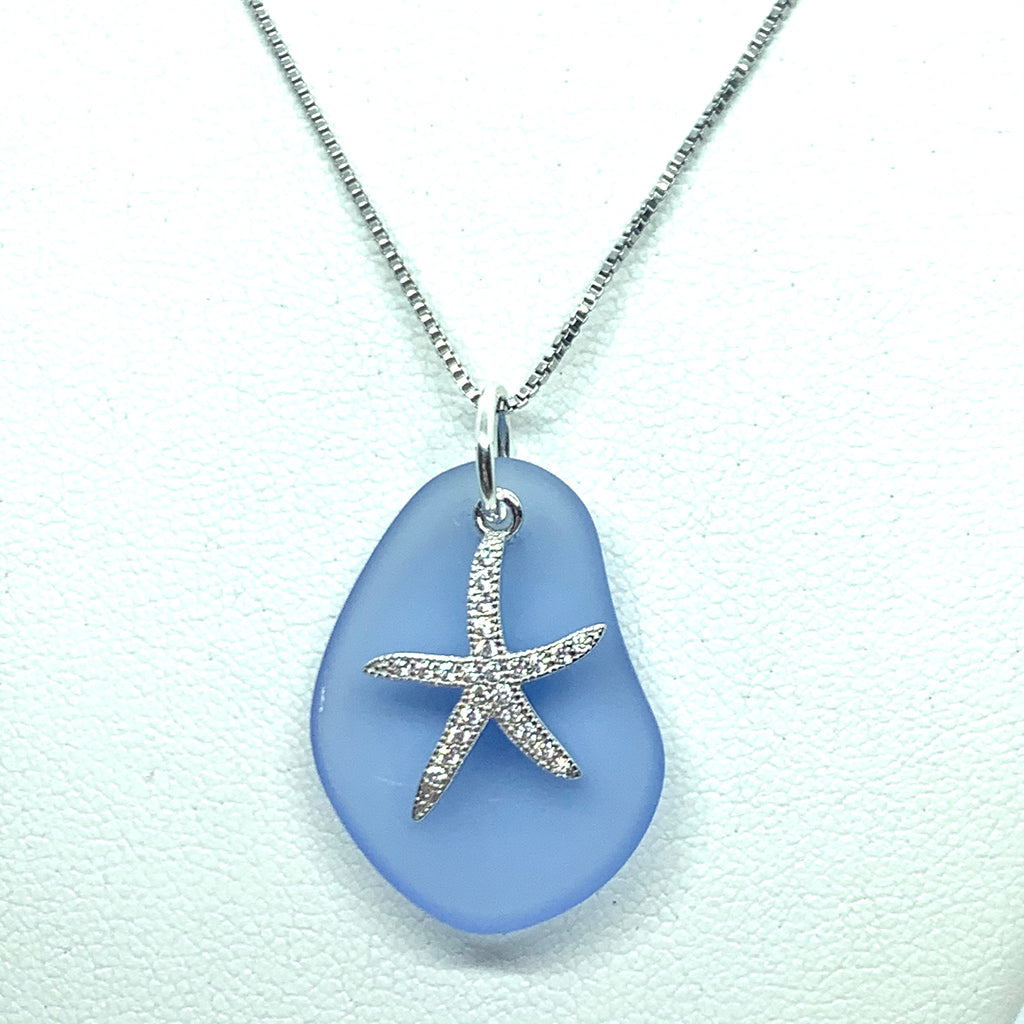 Pave Starfish Sea Glass Necklace Periwinkle