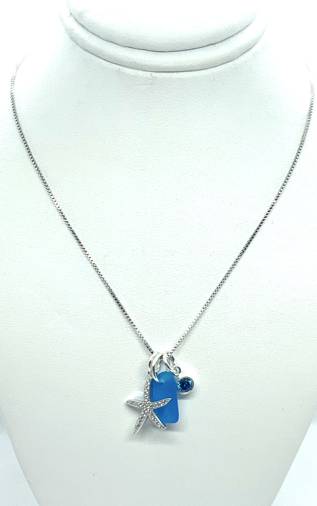 Pave Starfish Sea Glass Charm Necklace Turquoise