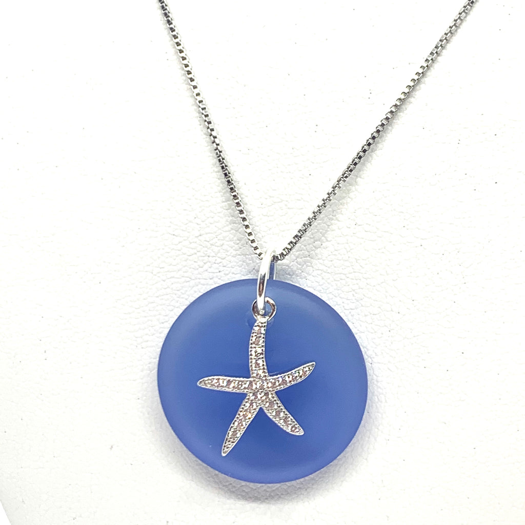 Pave Round Starfish Sea Glass Necklace Royal Blue - Jenna Jane's Jewelry