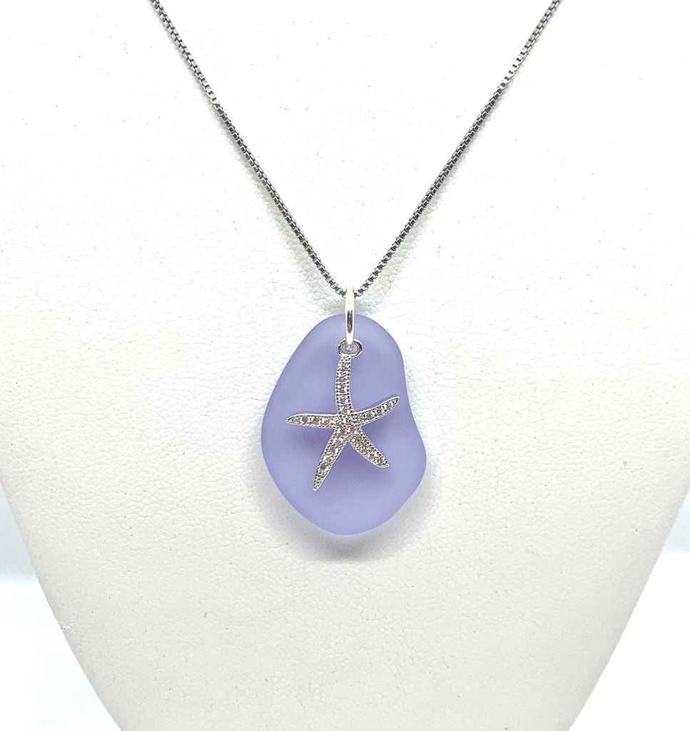 Pave Starfish Sea Glass Necklace Purple - Jenna Jane's Jewelry