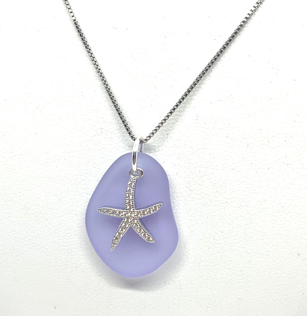Pave Starfish Sea Glass Necklace Purple