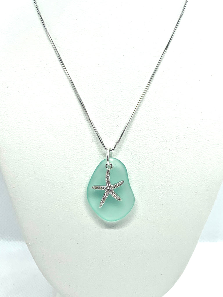 Pave Starfish Sea Glass Necklace Seafoam - Jenna Jane's Jewelry
