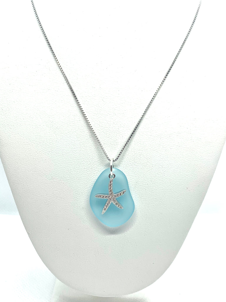 Pave Starfish Sea Glass Necklace Aqua