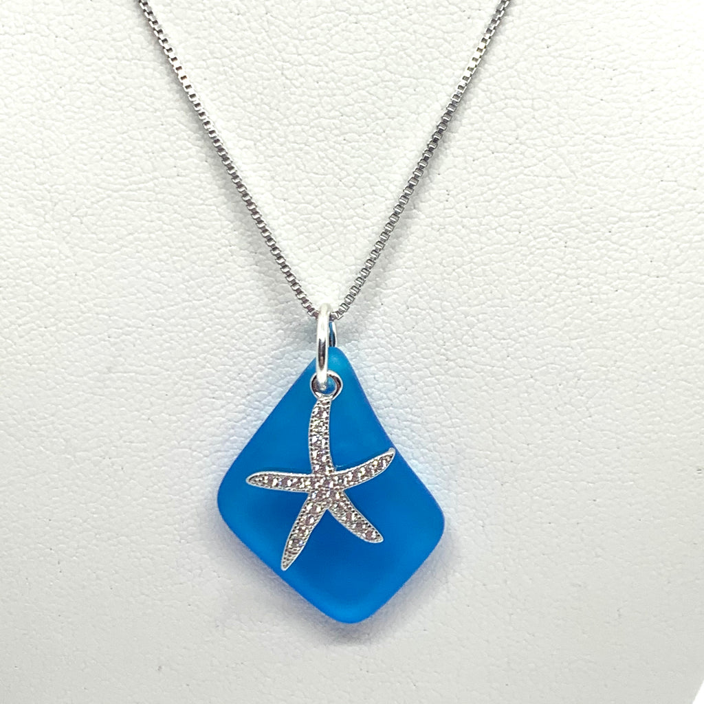 Pave Starfish Sea Glass Necklace Turquoise - Jenna Jane's Jewelry
