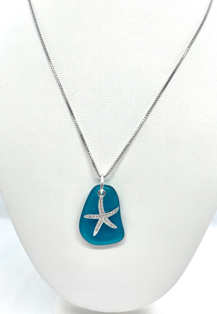Pave Starfish Sea Glass Necklace Teal - Jenna Jane's Jewelry