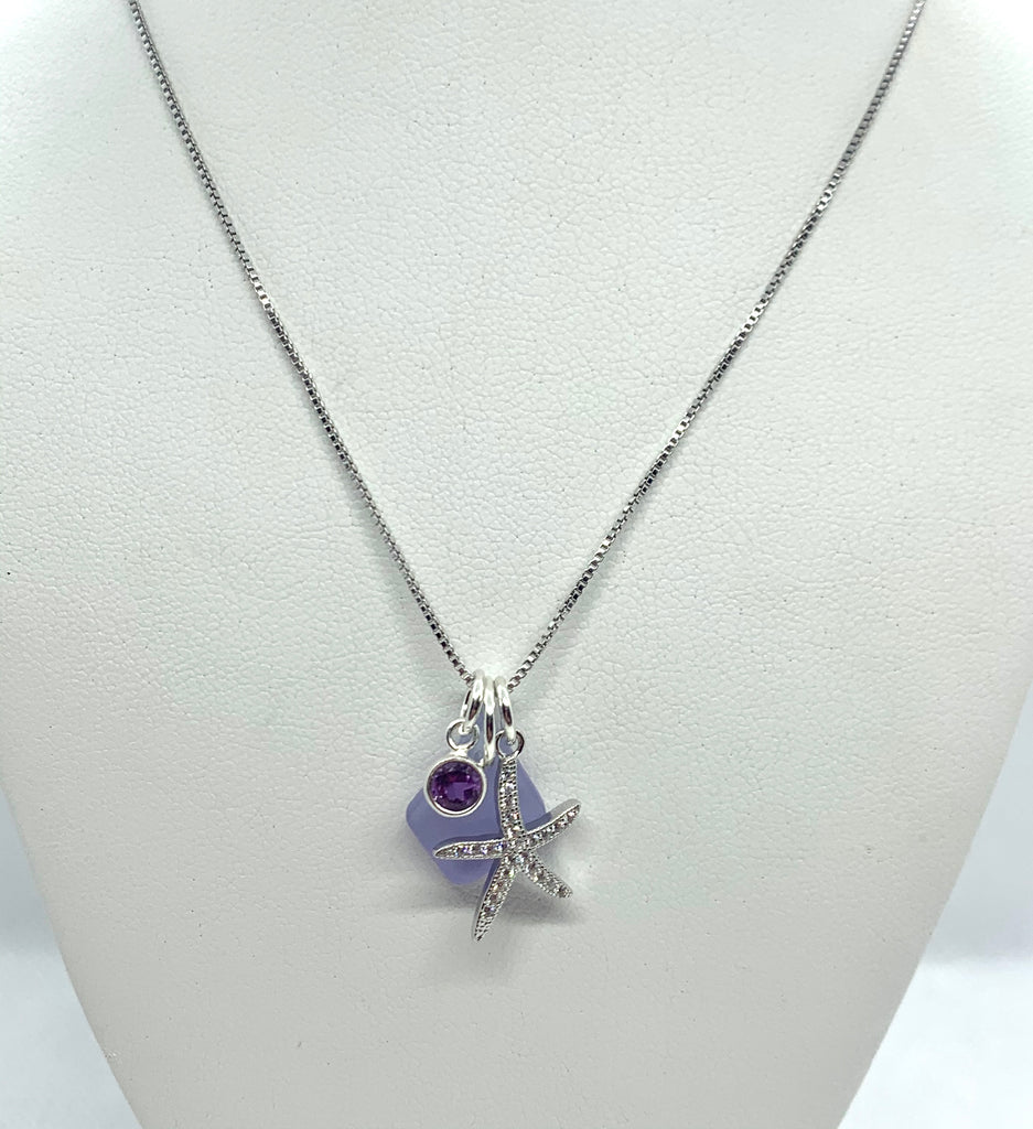Pave Starfish Sea Glass Charm Necklace Purple - Jenna Jane's Jewelry