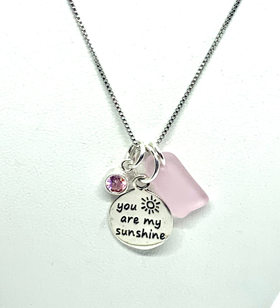You are my Sunshine Charm Sea Glass Necklace Pink