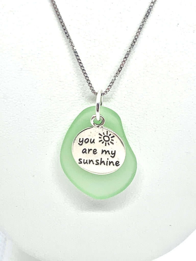 You are my Sunshine Sea Glass Necklace Green - Jenna Jane's Jewelry