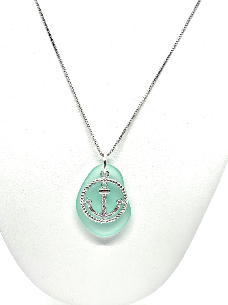 Pave Anchor Sea Glass Necklace