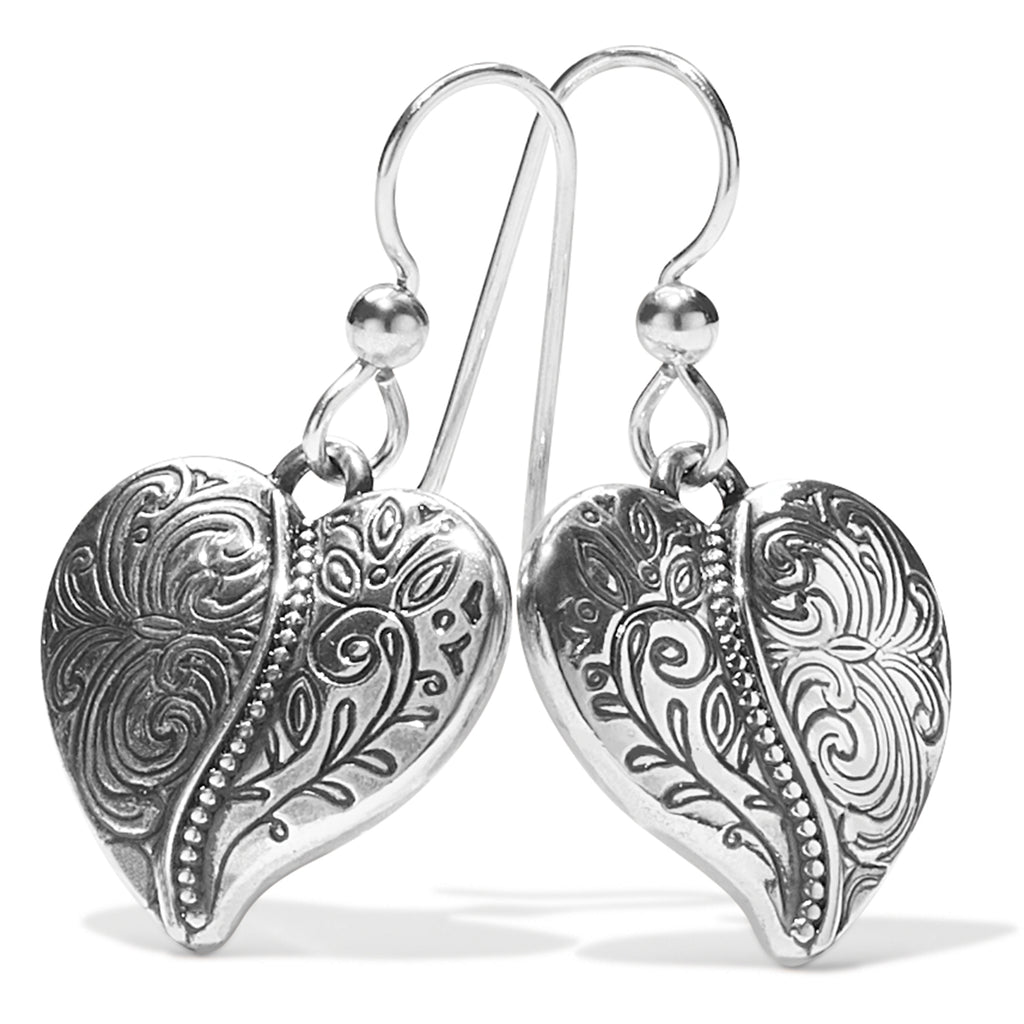 Ornate Heart French Wire Earrings