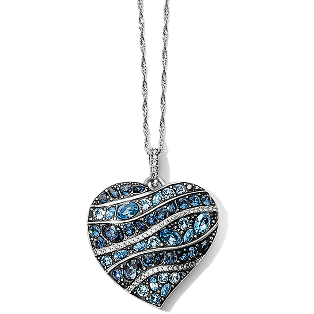 Trust Your Journey Wave Convertible Reversible Heart Necklace Blue - Jenna Jane's Jewelry