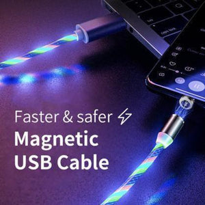 The Electret - Glowing LED Magnetic 3 in 1 USB Charging Cable