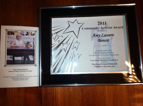 Amy was awarded with the Community Activist Award for 2011!