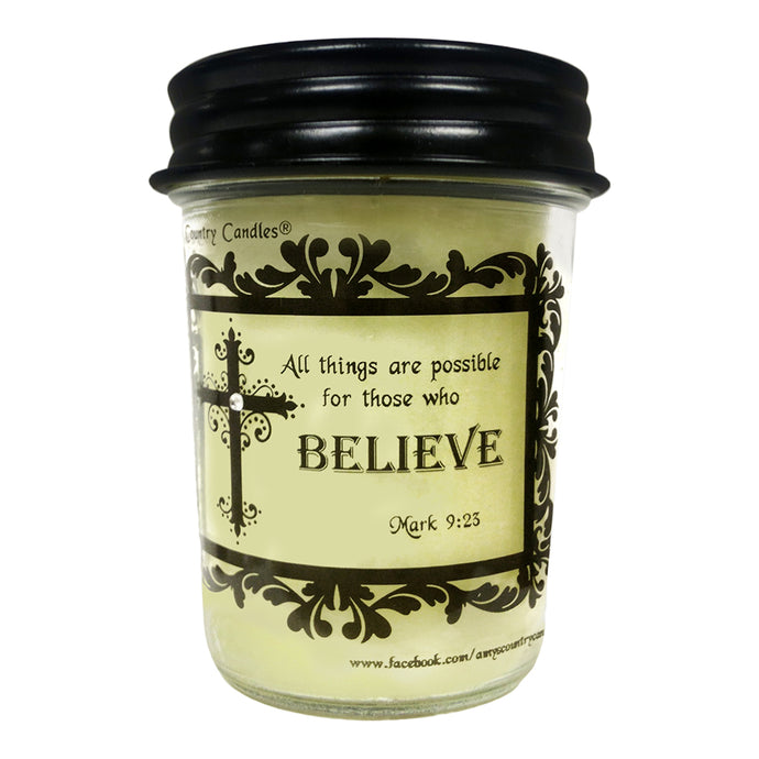Believe - Mark 9:23 - 8oz Jelly - Amy's Vanilla Sugar Cookie® - Amy's Country Candles
